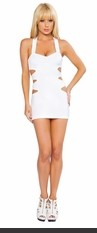 Zipper back mini dress with multi-cutout detail. Fabric: Poly/Spandex