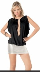 Two-toned, ultra short, mini dress with rhinestone latch in front and open, balloon style top. Has attached metallic skirt and can be worn off the shoulder or on.