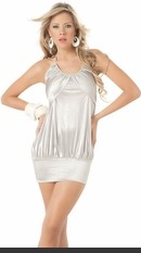 Satin look, halter top, ultra short, mini dress. Sexy Lingerie for Women, Costume, Bra, Panties, sleepwear, corsets, bodysuits, teddies, robes and more.