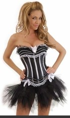 Burlesque strapless corset with side hook & eye closure, lace-up back and matching thong. Comes with matching petticoat.