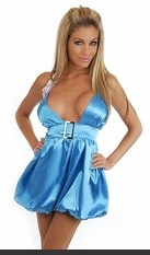 This sexy mini features a halter top, buckle embellishment, side zipper closure, fully lined and bubble dress bottom.