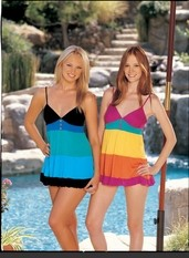 Fiesta cotton rayon knit chemise with multi colored layers, sparkly button details and adjustable shoulder straps.