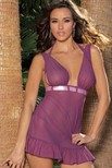 Mesh babydoll with satin ribbon, ruffled bottom and matching g-string.