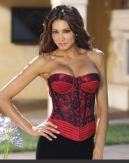 Like It Hot Bustier !!!!  Our Satin corset enhanced with trapunto and lace overlay cups, slightly padded underwire cups, slimming boning, lace up back, and hook and eye side closure. Includes removable, adjustable garters and a G-string.