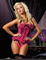 License to Thrill Microfiber bustier, mesh ruffle trim, satin bows, front lace-up detail, hook and eye back closure, boning and thong