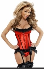 Check Me Out Padded Bustier >> Sexy underwire bustier with padded cups, ruffled lace edging, front hook & eye closure, lace-up back, adjustable straps, adjustable & removable garters with bow embellishments and matching thong.