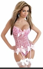 Be Mine Heart Print Bustier >> Underwire bustier with adjustable straps, hook & eye back closure, removable & adjustable garters and matching thong.