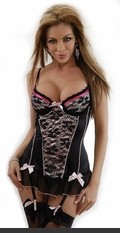 Guilty Pleasure Lace Bustier >> Underwire bustier with adjustable straps, hook & eye back closure, removable & adjustable garters and matching thong.