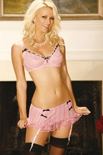 Mini skirt with adjustable and detachable garters. Underwire bra with satin bow detail