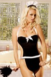 Sassy Maid - Satin halter neck teddy and matching attached apron.