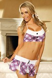 Tempting Tutor - Halter top, pleated mini skirt and ribbon hair ties.