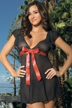 Mesh deep V neck polka-dot babydoll with cap sleeves and satin bow detai