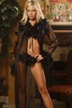 Long sleeve sheer robe, trimmed in chandelle feathers with silver tinsel.