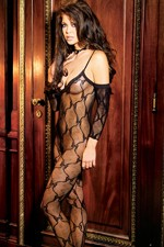Bow tie lace bodystocking with attached sleeves and open crotch.