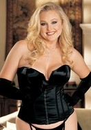 Satin Zipper Front Corset with Matching G-String Plus Size