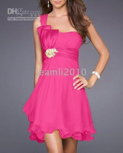 Chiffon red one-shoulder Bow cocktail dresses bridal dress Bridesmaid dress party dress