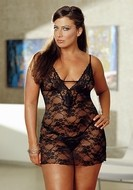 Stretch Lace Babydoll with Matching G-String Plus Size - Black