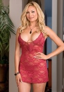 Stretch Lace Babydoll with Matching G-String Plus Size