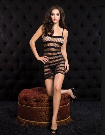 Striking Black Mesh Babydoll with horizontal thick line design
